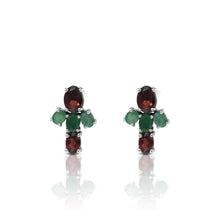 Load image into Gallery viewer, Friendship earstud with genuine garnet and emerald set in 925 sterling silver - SUVARNASILVERCO.,LTD