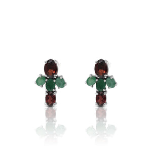 Friendship earstud with genuine garnet and emerald set in 925 sterling silver - SUVARNASILVERCO.,LTD