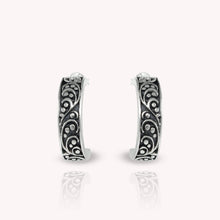 Load image into Gallery viewer, Bali inspired filigree half hoop post earrings, beautiful hoop earrings for women - SUVARNASILVERCO.,LTD