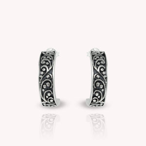 Bali inspired filigree half hoop post earrings, beautiful hoop earrings for women - SUVARNASILVERCO.,LTD
