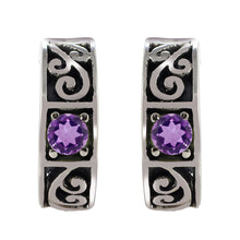 Load image into Gallery viewer, Filigree Design 925 Sterling Silver Stud Earring with Genuine Gemstone