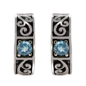 Filigree Design 925 Sterling Silver Stud Earring with Genuine Gemstone