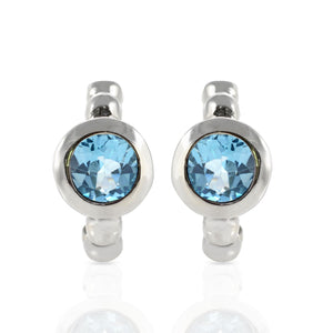 925 Sterling Silver Stud Earring with Genuine Gemstone