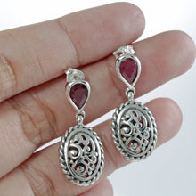 Load image into Gallery viewer, Cable edge filigree stud earrings with genuine ruby set in 925 sterling silver, beautiful stud earring for women - SUVARNASILVERCO.,LTD
