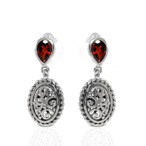 Cable edge filigree stud earrings with genuine ruby set in 925 sterling silver, beautiful stud earring for women - SUVARNASILVERCO.,LTD