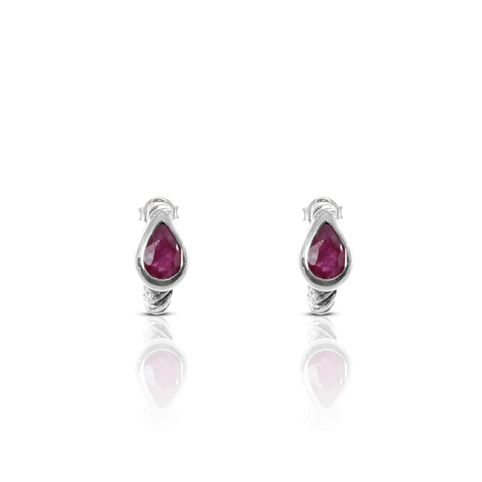 Cable half hoop design with genural ruby set in 925 sterling silver - SUVARNASILVERCO.,LTD