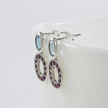 Load image into Gallery viewer, Simple Stone Combination Design 925 Sterling Silver Ear Stud with Pink Cubic Circonia and Genuine Blue Topaz Stone - SUVARNASILVERCO.,LTD