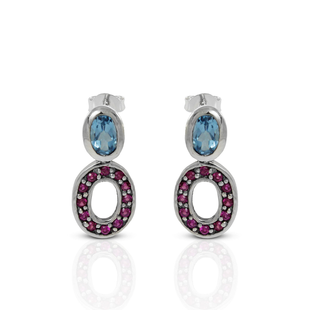 Simple Stone Combination Design 925 Sterling Silver Ear Stud with Pink Cubic Circonia and Genuine Blue Topaz Stone - SUVARNASILVERCO.,LTD