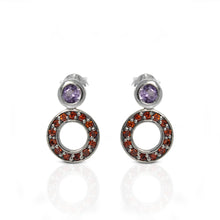 Load image into Gallery viewer, 925 Sterling Silver Ear Stud with Genuine Amethyst and Red Cubic Circonia - SUVARNASILVERCO.,LTD