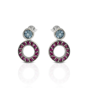 925 Sterling Silver Ear Stud with Genuine Amethyst and Red Cubic Circonia - SUVARNASILVERCO.,LTD
