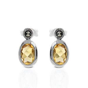 Premium genuine blue topaz with mineral marcasite set in 925 sterling silver stud earring, beautiful stud earring for woman - SUVARNASILVERCO.,LTD