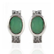 Load image into Gallery viewer, Hammered Stud Earring 925 Sterling Silver with Genuine Gemstone