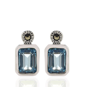 925 Sterling Silver Stud Earring with Genuine Gemstone and Marcasite