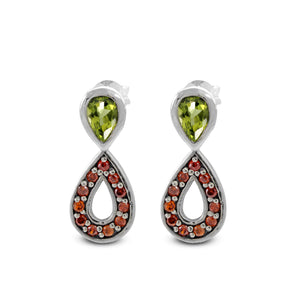 925 Sterling Silver Stud Earring with Pear - Shape Genuine Gemstone Red Cubic Zirconia