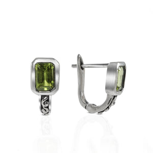 English Lock 925 Sterling Silver Stud Earring with Genuine Gemstone and Color Shell