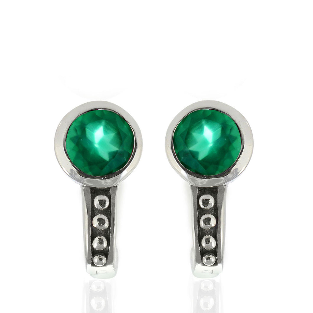 English Lock 925 Sterling Silver Stud Earring with Genuine Gemstone