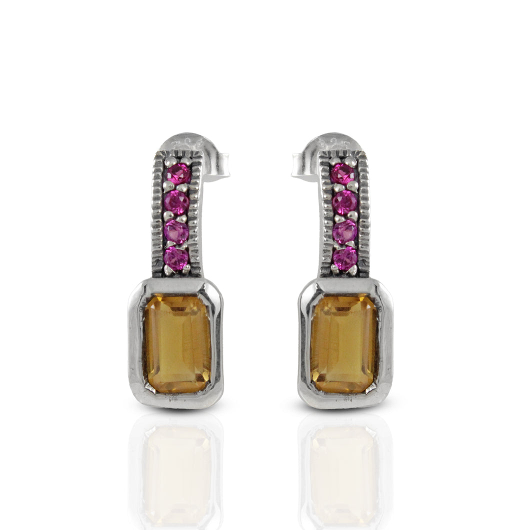 925 Sterling Silver Stud Earring with Genuine Citrine Stone and Pink Cubic Zirconia