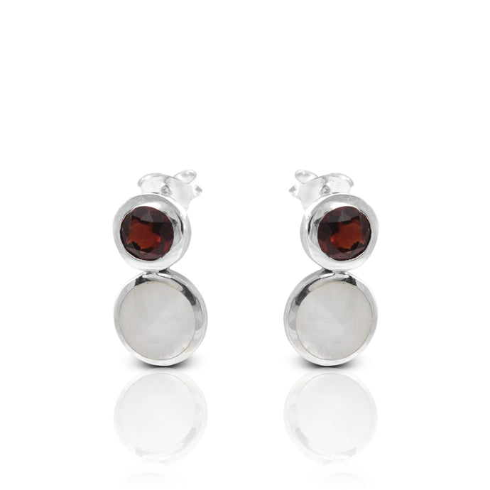 Stone Combination Modern Design 925 Sterling Silver Ear Stud with Genuine Garnet and mother of pearl - SUVARNASILVERCO.,LTD