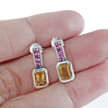 Load image into Gallery viewer, 925 Sterling Silver Stud Earring with Genuine Citrine Stone and Pink Cubic Zirconia