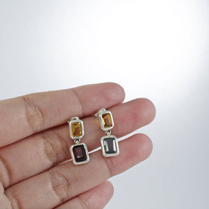 Dangle two stone Earrings with genuine citrine and garnet set in 925 sterling silver, beautiful post earring for women - SUVARNASILVERCO.,LTD