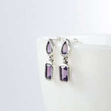 Load image into Gallery viewer, Dangle earring with genural amethyst set in 925 sterling silver - SUVARNASILVERCO.,LTD