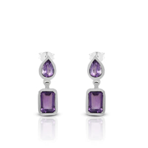 Dangle earring with genural amethyst set in 925 sterling silver - SUVARNASILVERCO.,LTD