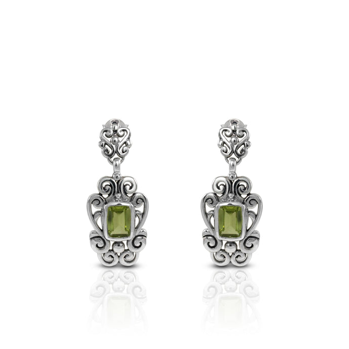 filigree dangle earring with genural peridot set in 925 sterling silver - SUVARNASILVERCO.,LTD