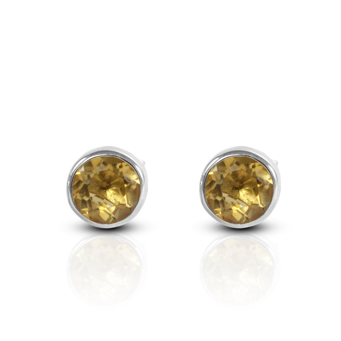 Round citrine stud earring set in 925 sterling silver, beautiful stud earring for woman - SUVARNASILVERCO.,LTD