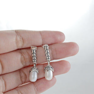 freshwater pearl dangle earring set in 925 sterling silver - SUVARNASILVERCO.,LTD