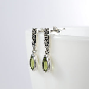 Genuine peridot dangle drop earrings set in 925 sterling silver, beautiful earring for woman - SUVARNASILVERCO.,LTD