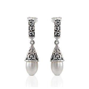 Natural fresh water pearl dangle drop bali design earrings set in 925 sterling silver ,beautiful stud earrings for women - SUVARNASILVERCO.,LTD