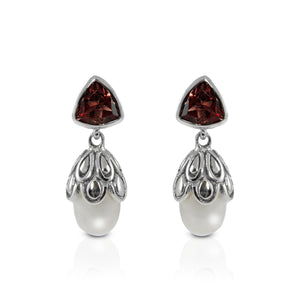 925  Sterling Silver Earstud with Genuine Gemstone  and Fresh Water Pearl