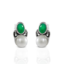 Load image into Gallery viewer, Genuine emerald set in 925 sterling silver minimal stud earring, beautiful stud earring for woman - SUVARNASILVERCO.,LTD