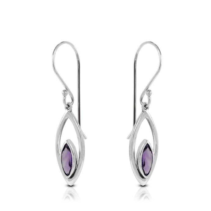 Leaf dangle earrings with genuine amethyst set in 925 sterling silver , beautiful earrings for women - SUVARNASILVERCO.,LTD