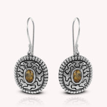 Load image into Gallery viewer, Volcanic lava pattern hook earrings with genuine citrine set in 925 sterling silver, beautiful earring for women - SUVARNASILVERCO.,LTD
