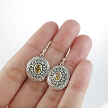 Cargar imagen en el visor de la galería, Swirl filigree dangle hook oval earrings with genuine citrine set in 925 sterling silver, beautiful dangle earring for women - SUVARNASILVERCO.,LTD