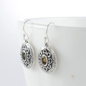 Swirl filigree dangle hook oval earrings with genuine citrine set in 925 sterling silver, beautiful dangle earring for women - SUVARNASILVERCO.,LTD