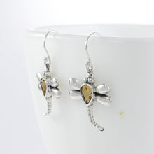 Load image into Gallery viewer, Flying dragonfly earrings with genuine citrine set in 925 sterling silver, beautiful dangle earring for women - SUVARNASILVERCO.,LTD
