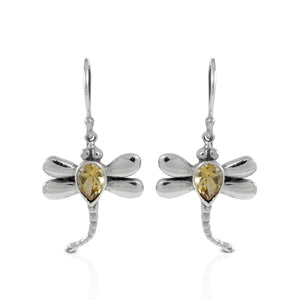 Flying dragonfly earrings with genuine citrine set in 925 sterling silver, beautiful dangle earring for women - SUVARNASILVERCO.,LTD