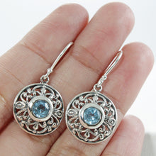 Load image into Gallery viewer, Filigree round dangle hook earrings with genuine blue topaz set in 925 sterling silver with genuine citrine, beautiful earring for woman - SUVARNASILVERCO.,LTD