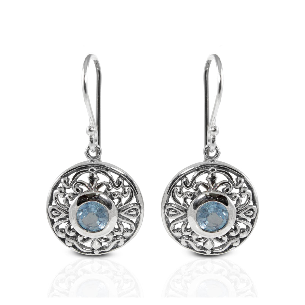 Filigree round dangle hook earrings with genuine blue topaz set in 925 sterling silver with genuine citrine, beautiful earring for woman - SUVARNASILVERCO.,LTD