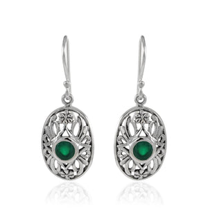 Flowers Garden Earring with Genuine Gems Stone set in 925 Sterling Silver