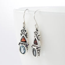 Load image into Gallery viewer, Bali inspired filigree with genuine gemstone dangle earrings set in 925 sterling silver, beautiful earring for woman - SUVARNASILVERCO.,LTD