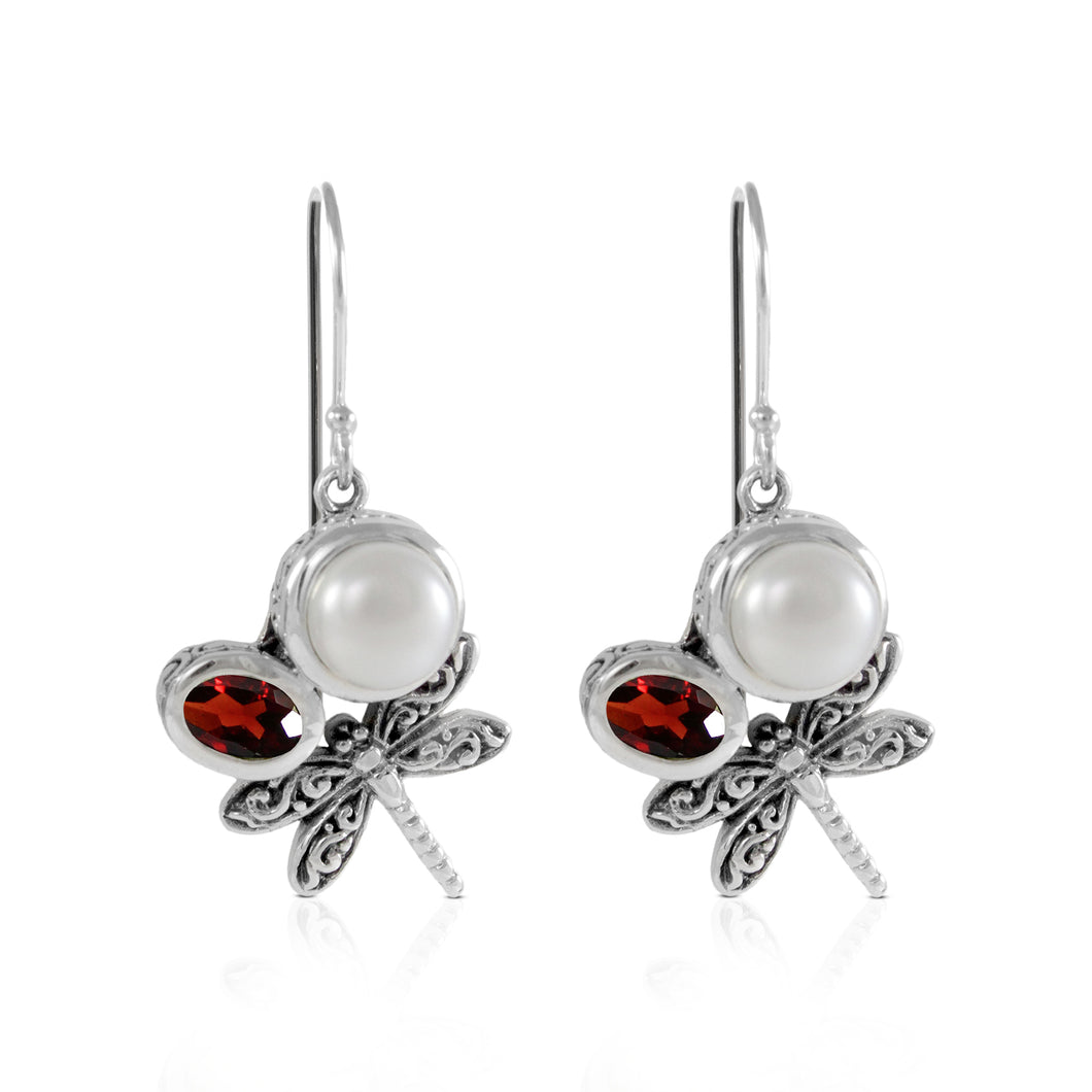 Dragonfly design with genuine peridot and fresh water pearl hook earrings set in 925 sterling silver, beautiful earring for women - SUVARNASILVERCO.,LTD