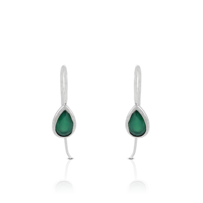Teardrop earring with  genural green agate set in 925 sterling silver - SUVARNASILVERCO.,LTD