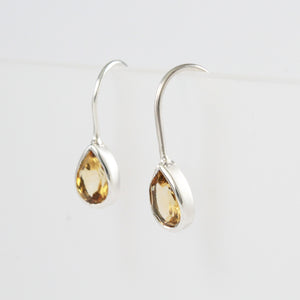 925 Sterling Silver Earring with Genuine Pear - Shape  Peridot Stone