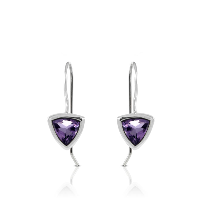 Trillion amethyst earring set in 925 sterling silver, beautiful stud earring for woman - SUVARNASILVERCO.,LTD