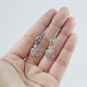 Bali Design 925 Sterling Silver Earring with Genuine Gems Stone