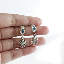 Load image into Gallery viewer, Bali inspired filigree with genuine blue topaz dangle earrings set in 925 sterling silver, beautiful earring for woman - SUVARNASILVERCO.,LTD