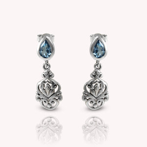 Bali inspired filigree with genuine blue topaz dangle earrings set in 925 sterling silver, beautiful earring for woman - SUVARNASILVERCO.,LTD